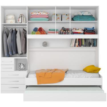 299ebf4af7 Dormitório De Solteiro Transversal Sem Cama 1326 Branco