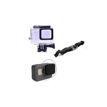 Kit GoPro Hero 5 6 7 Black Caixa Estanque De Mergulho Tampa Protetora Da Lente Suporte Ajustável Para Capacete Ventilado