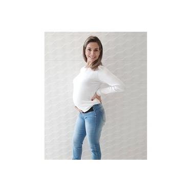 Calça jeans gestante clara para grávida