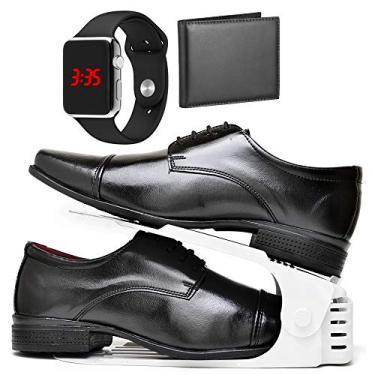 Kit Sapato Social Com Cadarço, Organizador, Carteira e Relógio LED Silver Masculino DUBUY 807DB Tamanho:44;cor:Marrom;gê