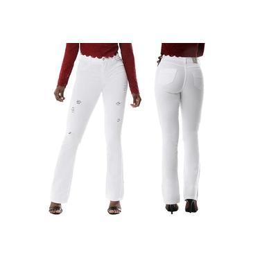 Calça Jeans Flare Destroyed Sawary Feminina Branca