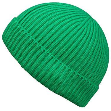 MaxNova Gorro de tricô curto pescador unissex, Verde, One Size