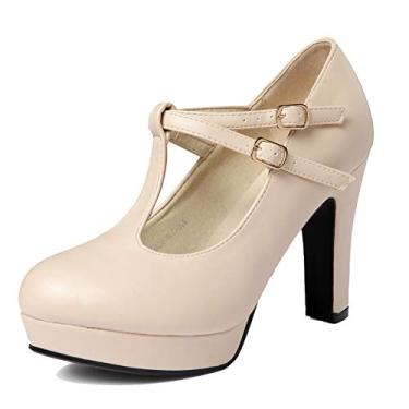 Sapato social feminino Mary Janes de salto alto com tiras em T e fivela no tornozelo getmorebeauty, Marfim, 9