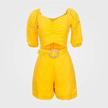 Macaquinho Feminino Curto Ombro a Ombro - Amarelo G