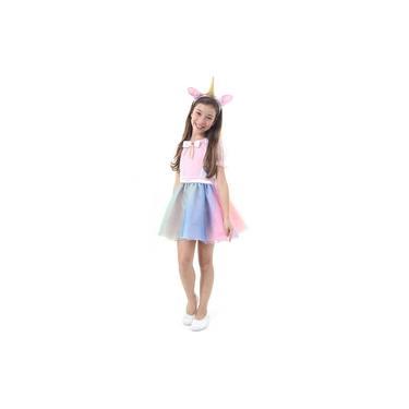 Imagem de Fantasia Vestido de Unicórnio Infantil Feminino Tiara Com Orelha e Chifre