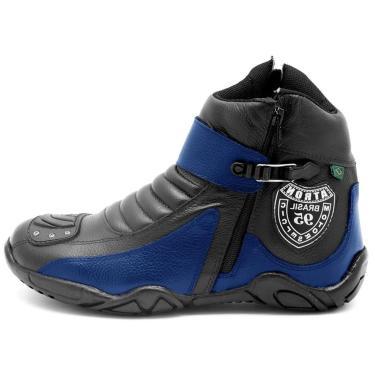 Bota Atron Shoes Motociclista Azul  masculino