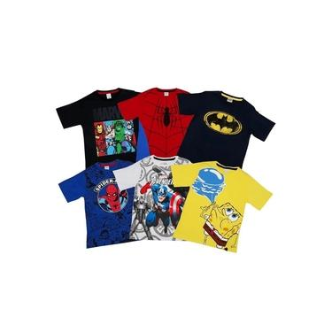 Camiseta Personagem Infantil Menino - Kit 6 Pçs