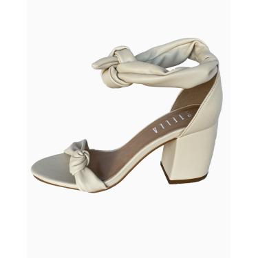 Sandália Stella Salto Grosso Baixo Quadrado Branco Off White  feminino