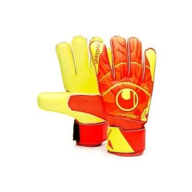 Luva de Goleiro Futebol Uhlsport Dynamic Impulse Starter Soft - Laranja/Amarelo