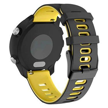 Pulseira Dual 20mm para Samsung Galaxy Watch Active 40mm 44mm - Galaxy Watch 3 41mm - Galaxy Watch 42mm - Amazfit Bip - Marca LTIMPORTS (Preto com Amarelo)
