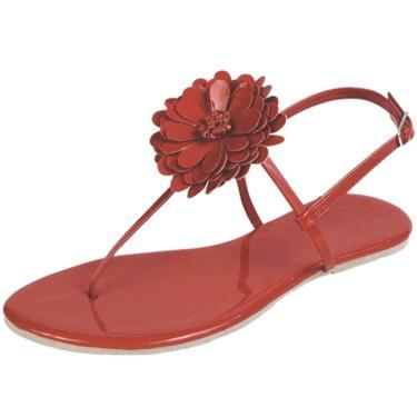 Imagem de Rasteira Mercedita Shoes Flor Verniz Vermelho  feminino