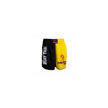 Short Muay Thai Luta Masculino Amarelo Com Preto Progne