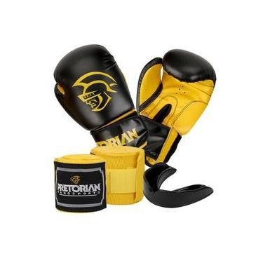 62b93d590d Kit Boxe Muay Thai First Pretorian Bucal + Bandagem + Luva 10 Oz