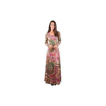 281721bdd5b4 Vestido Banna Hanna Longo Costas De Fora Marrom/Rosa/Lilás/Verde