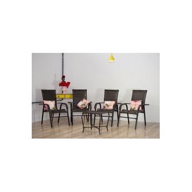 Jogo 4 Cadeiras De Jardim, Varanda, Área, Edícula Fibra Sintética Ratan - Pedra Ferro