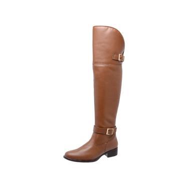 Bota Mega Boots Over The Knee Bege  feminino