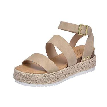 Soda Bryce Taupe Women's Open Toe Ankle Strap Espadrille Sandal (7)
