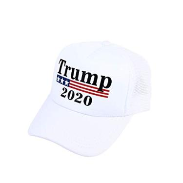ABOOFAN Trump 2020 Sun Hat Presidente criativo Eleição Boné de beisebol Chapéu exclusivo de Hip Hop para homens e mulheres - branco decoração de casa
