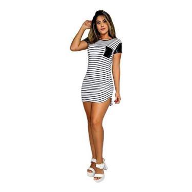 Imagem de Vestido Curto Blogueira Listrado Com Bolso e Manga - Branco e Preto - P