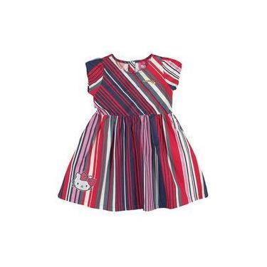 Vestido Infantil Passeio Listrado Vermelho, Marinho e Branco Hello Kitty