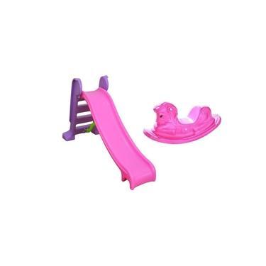 Imagem de Escorregador Infantil 3 Degraus Com Gangorra Cavalinho - Rosa