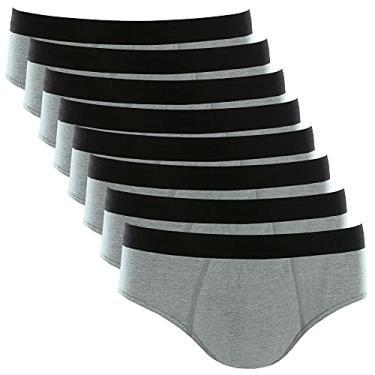 Imagem de Kit com 8 Cuecas Slip Cotton Basic Masculina Part.B (Cinza, XG)