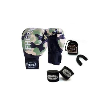 Kit Boxe Muay Thai Fheras New Top Luva + Bandagem Camuflado 005