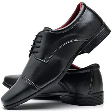 Sapato Social Com Cadarço Masculino ZARU 807DB Tamanho:40;cor:Preto;gênero:Masculino