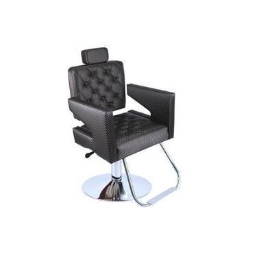 Cadeira De Barbeiro E Cabeleireiro Hidraulica Reclinável Roma, Maquiagem, Móveis P/ Salão, Fortebello - Cor: Cafe 3d