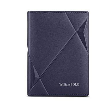 Carteira William Polo Masculina Original em Couro Legítimo Modelo Premium Leather - Azul