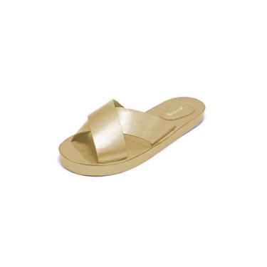 Imagem de Rasteira Teodoras Modelo Chinelo Couro A1926 Dourado  feminino