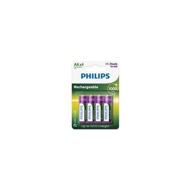 Pilha recarregável AA 1000mAh - com 4 unidades - Philips