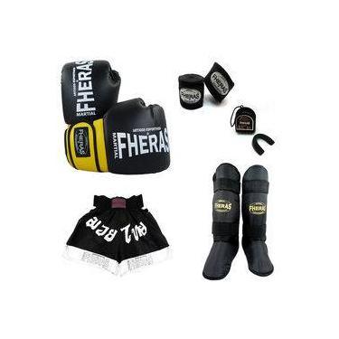 Kit Boxe Luva Bandagem Bucal Shorts Caneleira 14 OZ