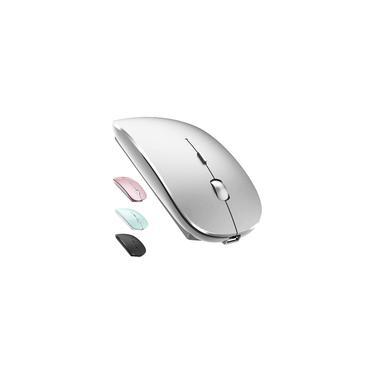 Imagem de Mouse sem fio recarregável para MacBook Pro Mac iMac Laptop Chromebook MacBook Air Win8/10 Computador de Mesa dell hp (Prata)