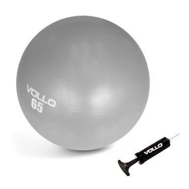 Bola Suiça De Pilates Yoga 65Cm Com Bomba De Ar Cinza Vollo