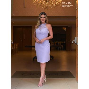 Vestido lilás curto tubinho de crepe moss com guippir no decote - Ref. 2342