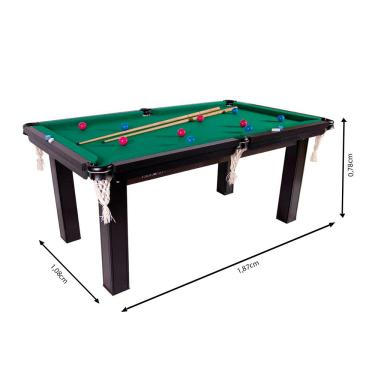 Mesa De Bilhar Sinuca Snooker Procópio Em Mdf 1,87X1,08M