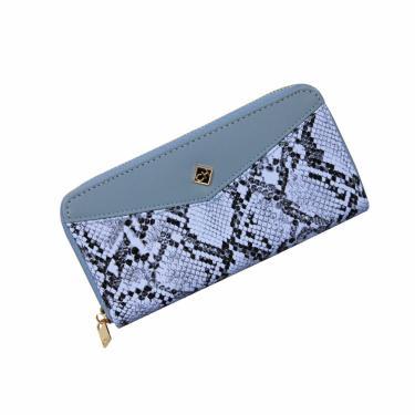 Carteira Feminina Longa Zíper Porta Celular Cartão Couro PU Azul ys39084
