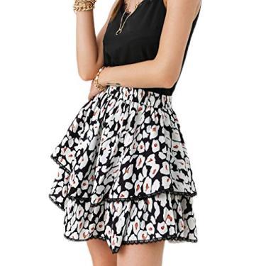 Glamaker Saia feminina de verão boêmia, estampa floral, babados, saia rodada, mini saia rodada com cordão, Leopardo - preto, L