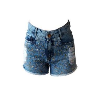 Short Jeans Feminino Minuty Brilhos Dourados 201760