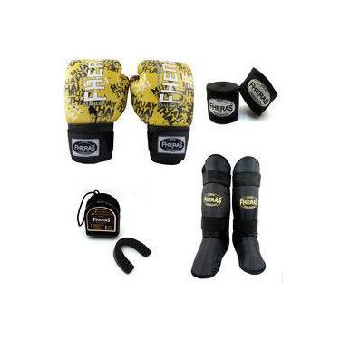 Kit Boxe Fheras Top Luva Bandagem Bucal Caneleira 08 GRAFITE