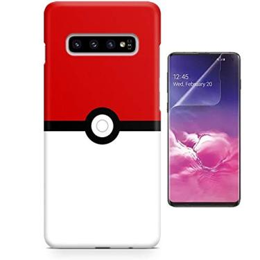 Kit Capa Case TPU Galaxy S10+ Plus Pokémon Pokebola Pokeball + Pel Vidro (BD02)
