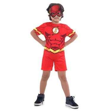 Imagem de Fantasia Flash Infantil com Máscara Tamanho 2 á 12 Curta (G 9-12)