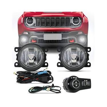Kit Farol de Milha Jeep Renegade 2019 2020 PCD Auxiliar Botão com Luz Neblina Traseira