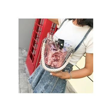 Moda revers¨ªvel Lantejoula Glitter Bucket Shoulder Bag Pacote Crossbody Bag Handbag