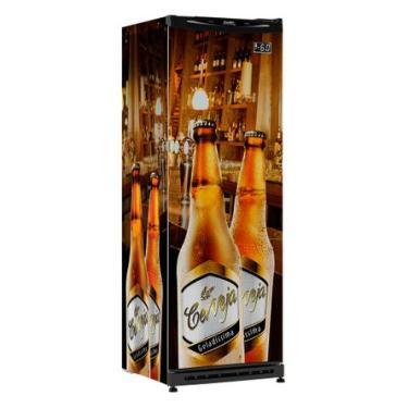 Cervejeira Vertical Esmaltec Geladíssima CV300R 348L Adesivada 220V
