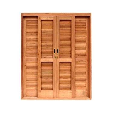Porta de Correr Veneziana Madeira 6 Folhas Isabela Revestimentos 2,15mx2,00mx15cm