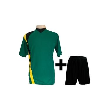 Uniforme Esportivo com 14 camisas modelo PSG Verde/Preto/Amarelo + 14 calções modelo Madrid Preto +