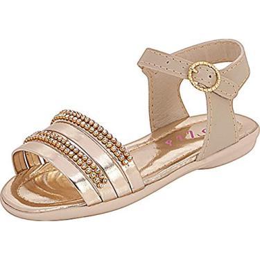 Sandália Plis Calçados Graciosa Marfim Dourada