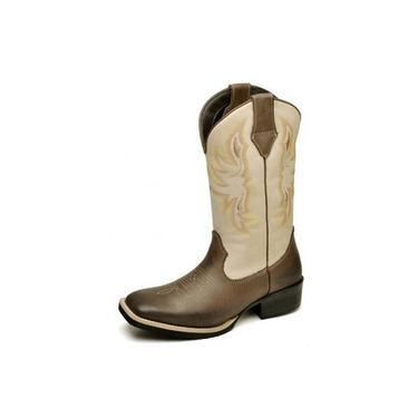 Bota Texana Feminina Country Rodeio Em Couro Nobre Areia